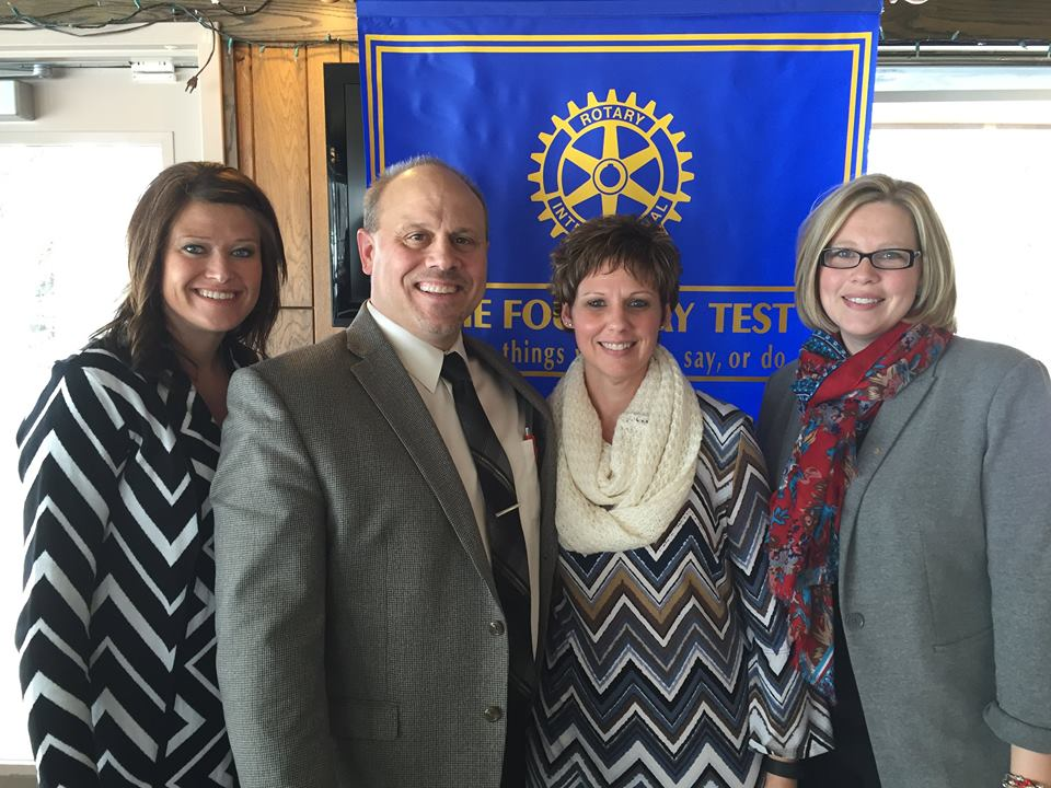 Pictured: Melissa Krueser, New Prague Rotary Club President Tony Buthe, Director of Educational Services - New Prague School District Cheryl Kollasch, New Prague District Nurse Amber Kahnke, RVNC Executive Director