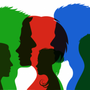 silhouettes of people in all colors