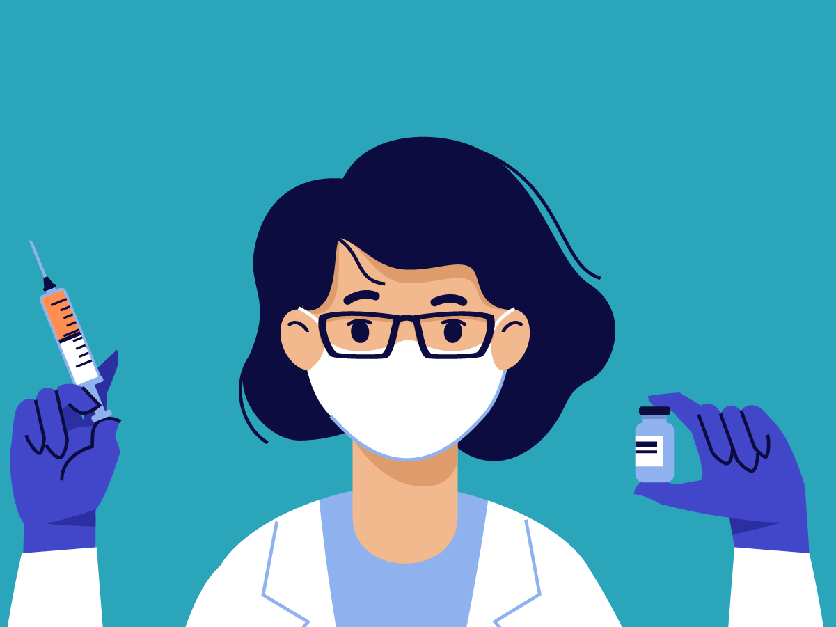 Graphic of a nurse holding the COVID-19 vaccine and syringe