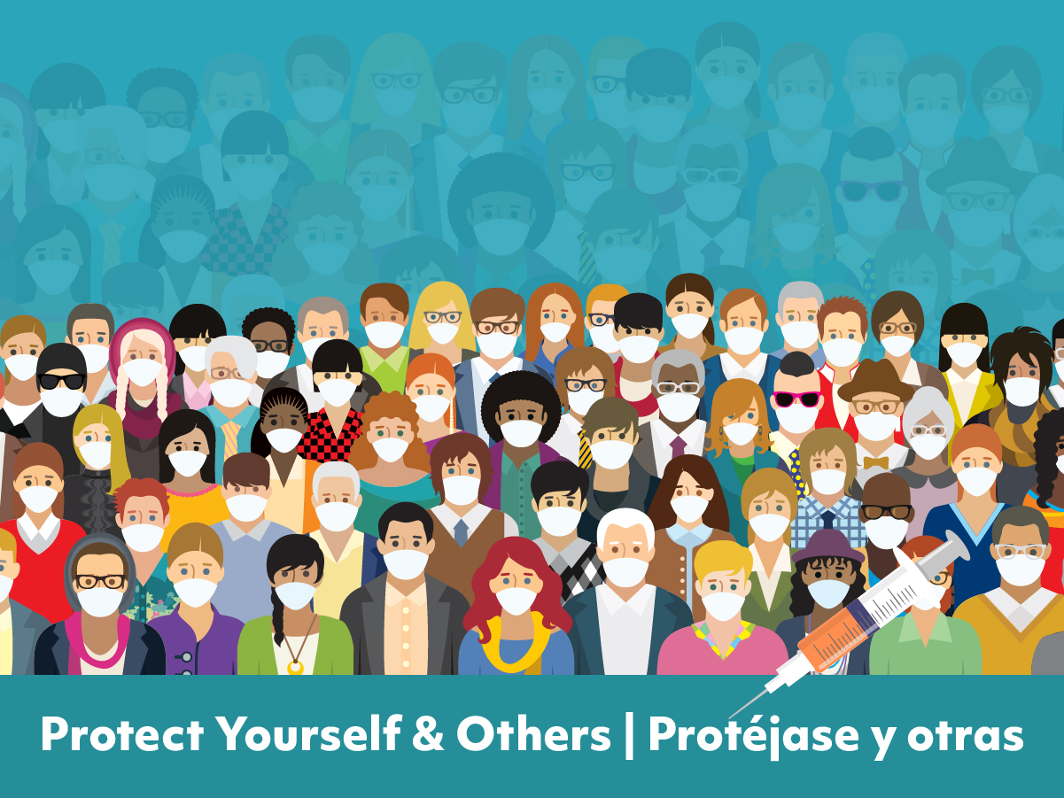 Group of people together wearing masks with the title Protect yourself and others