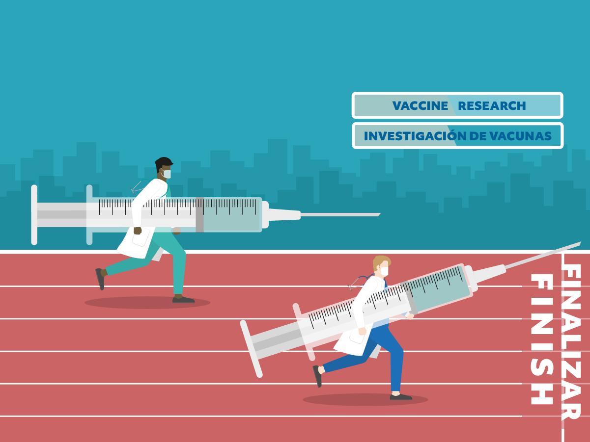Graphic of two doctors researchers racing to the finish line to deliver the COVID-19 vaccine